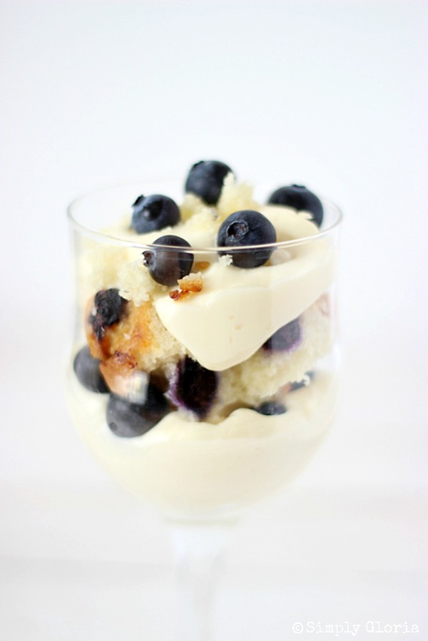 No Bake Blueberry Muffin Cheesecake Trifle with SimplyGloria.com #IndividualDessert