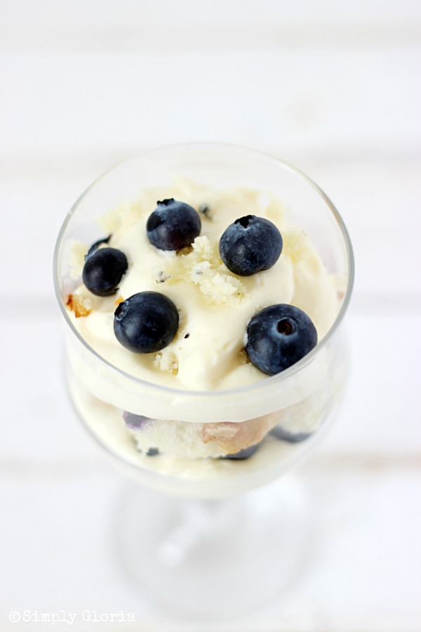 No Bake Blueberry Muffin Cheesecake Trifle with SimplyGloria.com #dessert