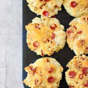 Pizza Muffins made from scratch with SimplyGloria.com #pizza