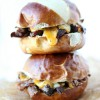 French Dip Shredded Beef Sliders with SimplyGloria.com #sandwiches #crockpot