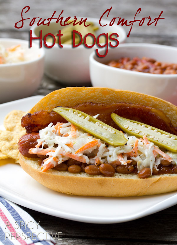 Southern Comfort Bacon Hot Dog Recipe with Southern Slaw