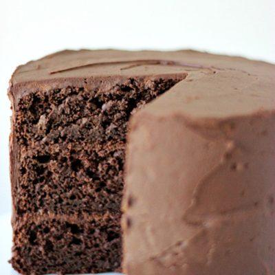Dark Chocolate Cake with Whipped Ganache Frosting