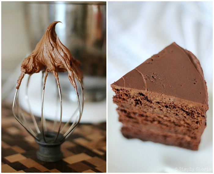 Dark Chocolate Cake with Whipped Ganache Frosting by SimplyGloria.com #frosting