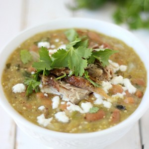 Pulled Pork Green Chili with SimplyGloria.com #chilis #tomatillos