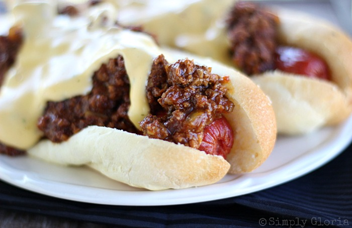 Cheesy Sloppy Dogs with SimplyGloria.com #groundbeef