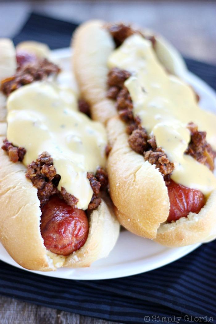 Cheesy Sloppy Dogs with SimplyGloria.com #sloppyjoes