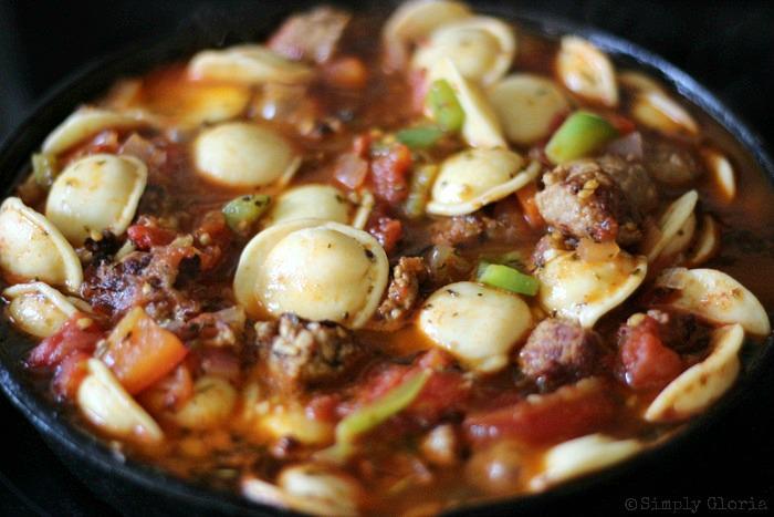 Italian Sausage and Ravioli Skillet with SimplyGloria.com 4