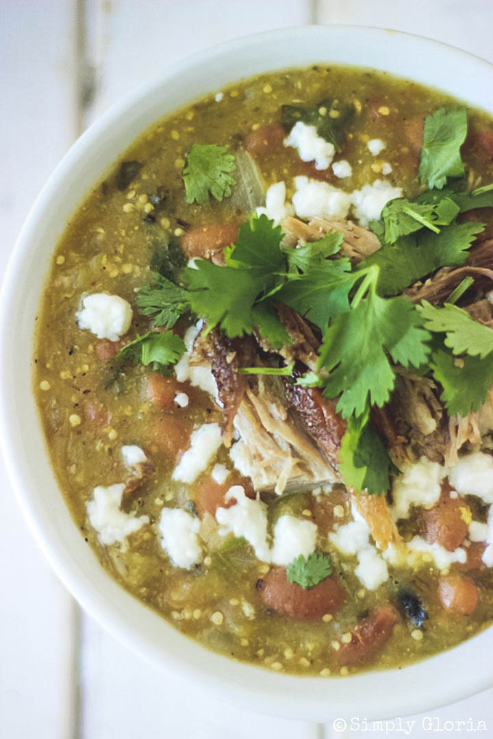 Pulled Pork Green Chili with SimplyGloria.com #chilis