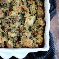 Sourdough Bread Stuffing with Italian Sausage