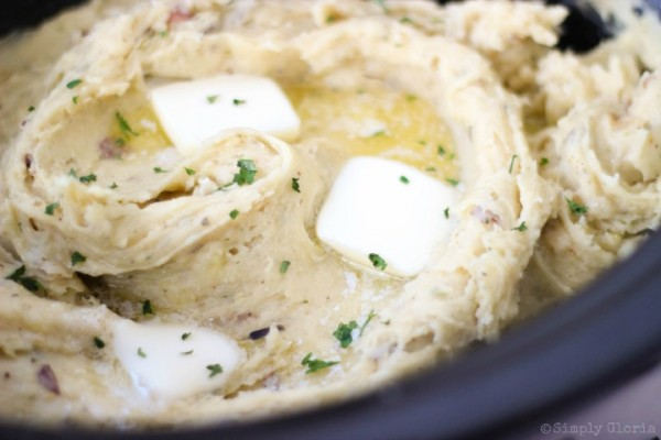 Slow Cooker Garlic Buttermilk Mashed Potatoes with Parmesan cheese and cream cheese!