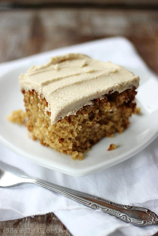 Lazy Daisy Peanut Butter Oatmeal Cake from SimplyGloria.com #cake
