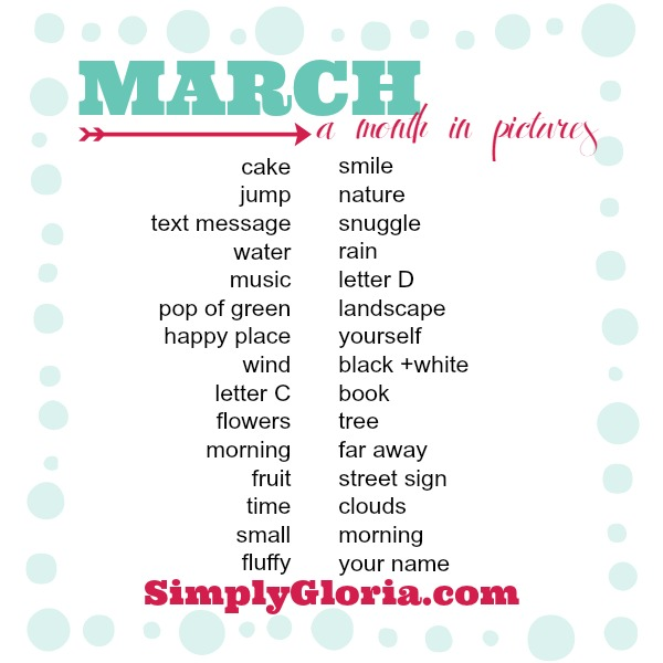 March Photo Challenge with SimplyGloria.com