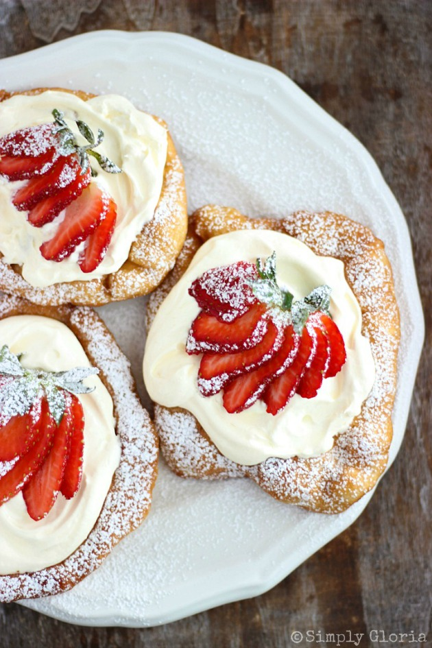 Strawberry Shortcake Cheesecake Scones with a cheesecake layer and topped with fresh strawberries!  #FryBread