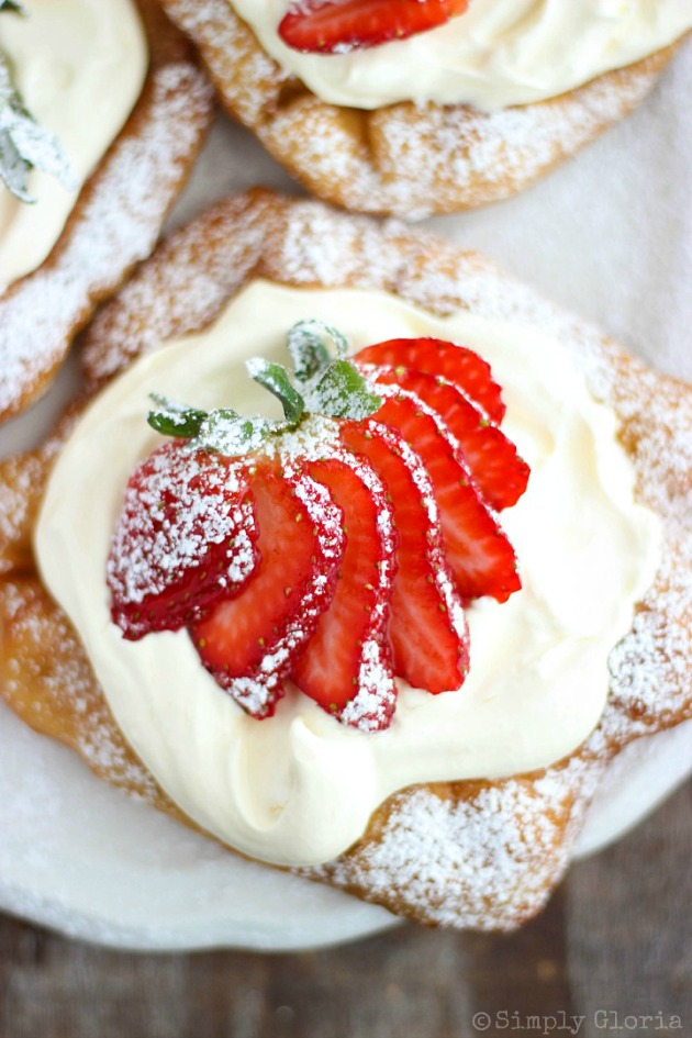 Strawberry Shortcake Cheesecake Scones with a cheesecake layer on sweet fried dough!  #FryBread #Strawberries