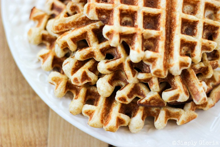 Vanilla Greek Yogurt Waffles made with buttermilk, whole wheat and flaxseed!