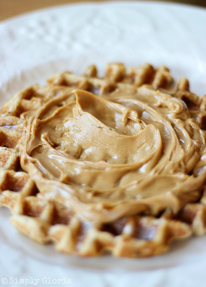Vanilla Greek Yogurt Waffles with your favorite fixings! #PeanutButter