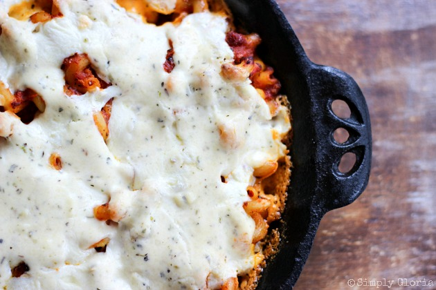 Baked Pasta with Red and White Sauce - tangy red sauce and creamy Parmesan white sauce.  It's the best of both sauce worlds all in one dish!