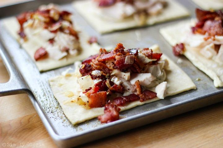Chicken Alfredo Bacon Pastry Pockets via SimplyGloria.com ii