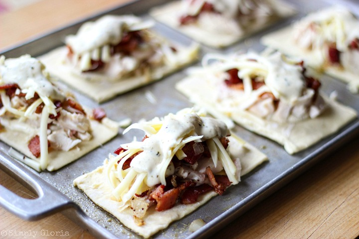 Chicken Alfredo Bacon Pastry Pockets via SimplyGloria.com iii