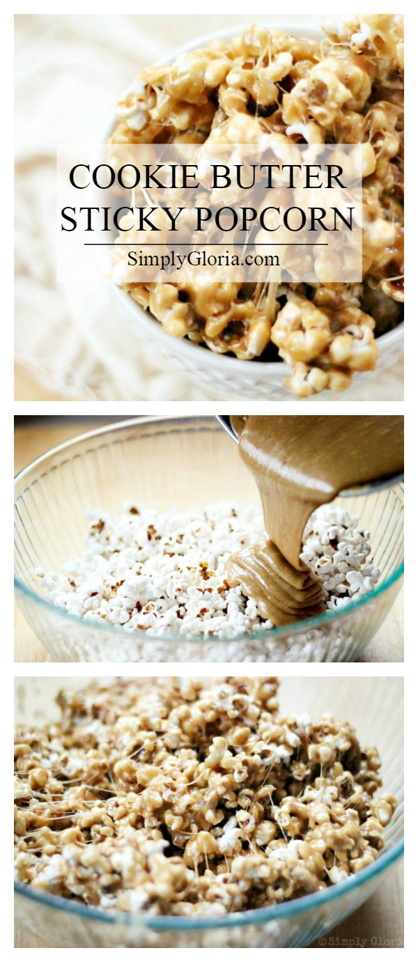 Cookie Butter Sticky Popcorn with SimplyGloria.com #Biscoff #popcorn