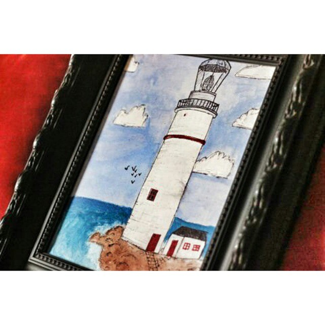 A most special gift from my talented first born. ... a hand painted canvas  #lighthouse #art #CanvasArtists #LighthouseLove #paint #artist #HandPainted #instalove #talented #BirthdayGift