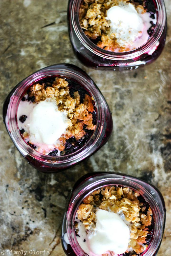 Blueberry Crumble baked in a jar!  SimplyGloria.com #blueberry