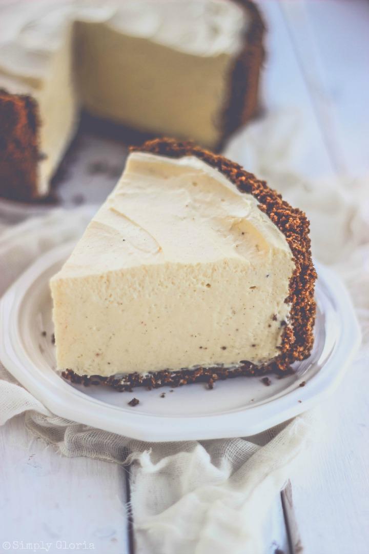 Easy (No Bake!) Eggnog Cheesecake Pie - Perfect to make ahead of time!
