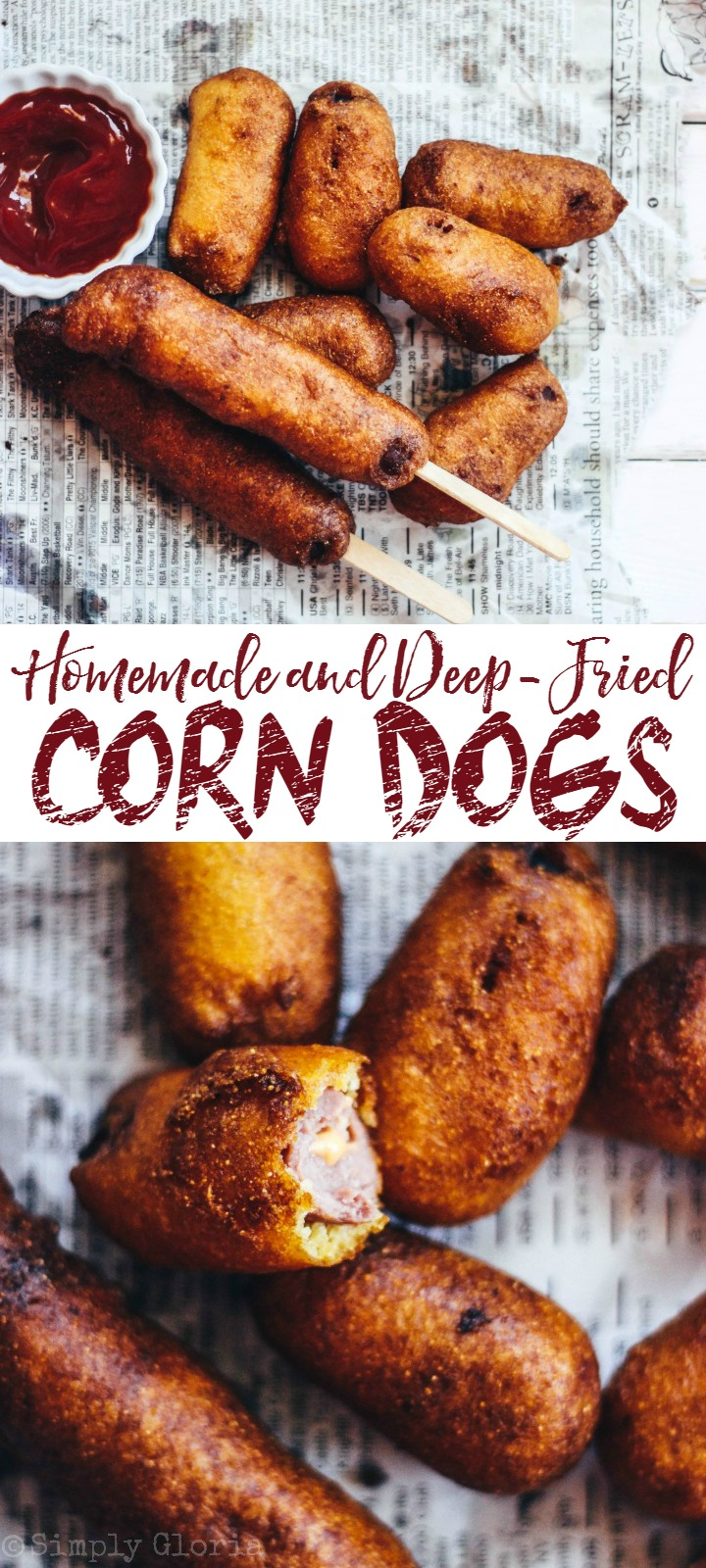 Homemade Corn Dogs drenched in a decadent buttermilk batter and deep-fried!