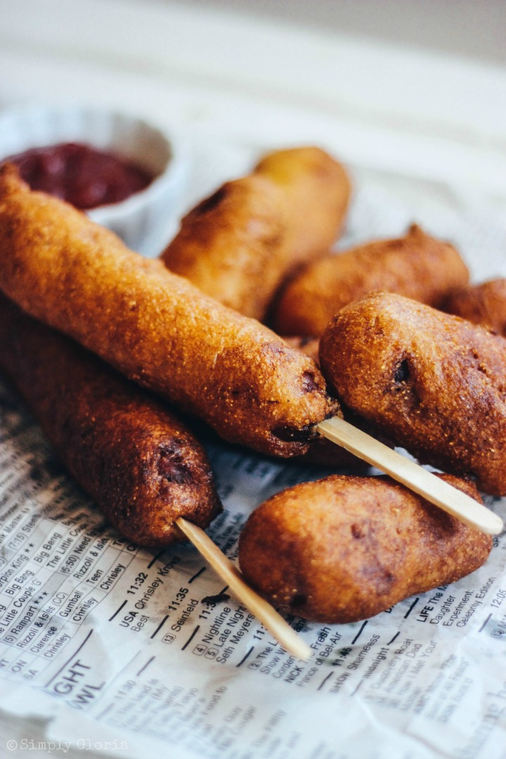 Homemade Corn Dogs drenched in a decadent buttermilk batter and fried!
