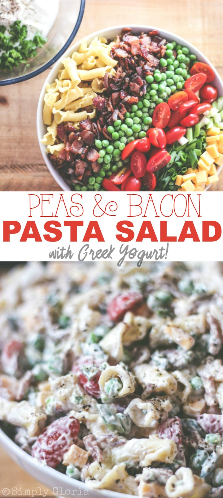 Peas and Bacon Pasta Salad with Greek Yogurt! Bring this to your next summer gathering!