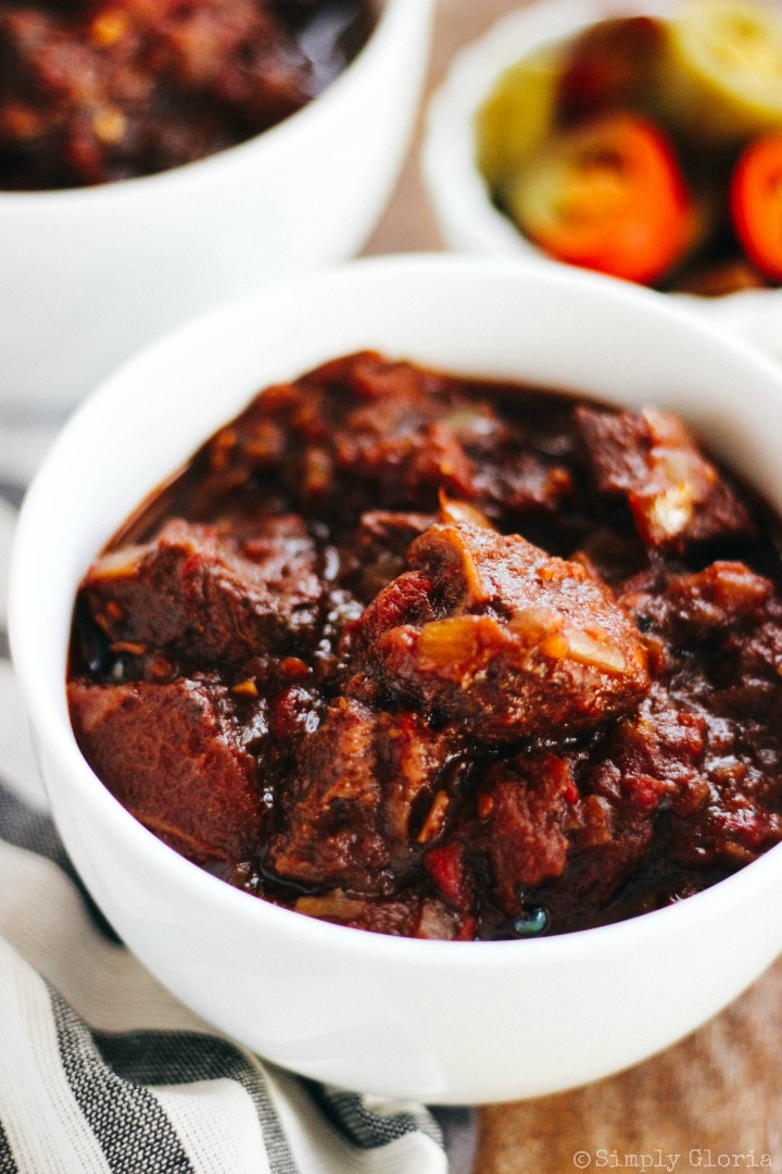 Chunky Beef Chili simmered to perfection with fresh vegetables!