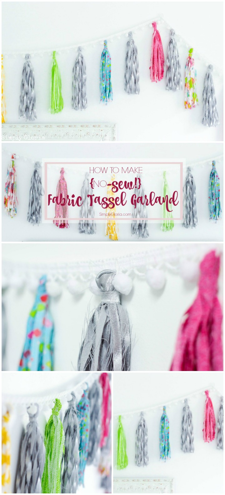Step by step tutorial on how to create your very own no-sew fabric tassel garland!  #DIY